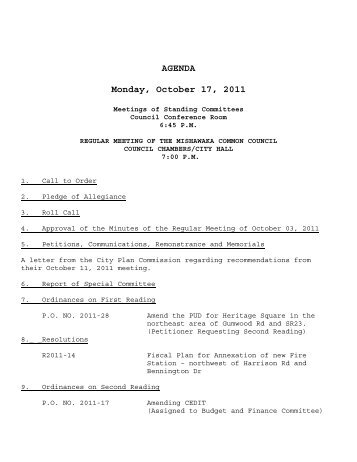 AGENDA Monday, October 17, 2011 - City of Mishawaka