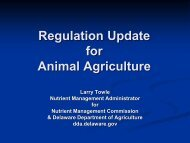Regulation Update for Animal Agriculture - Delaware Department of ...