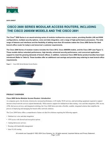 cisco 2600 series modular access routers, including the cisco ...