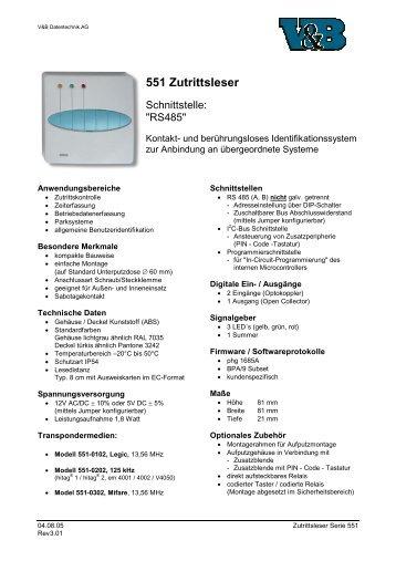 551 Zutrittsleser - V&B Datentechnik AG