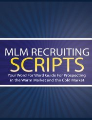 MLM Recruiting Scripts, Tools, and Resources Table of Contents