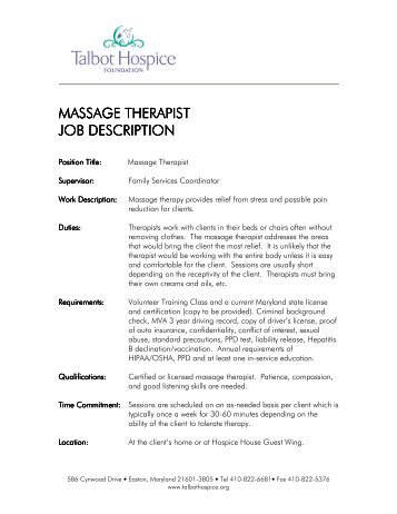 Massage Therapist Massage Therapist Job Description Job Description