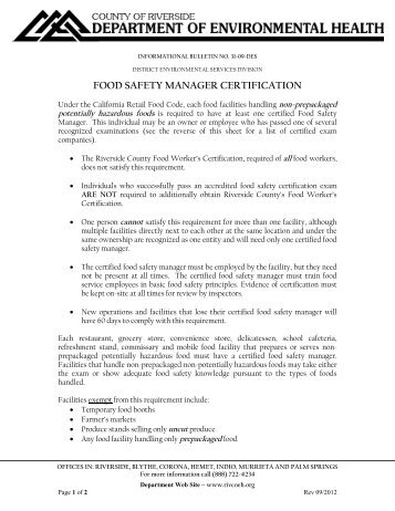 Food Safety Certification Riverside Ca