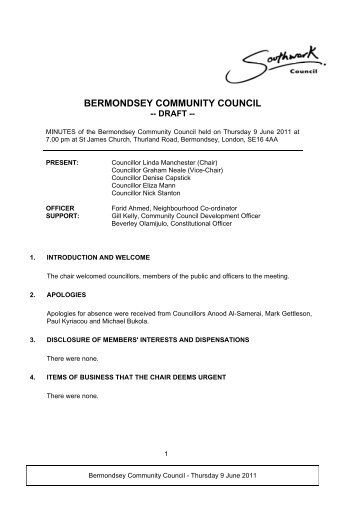 BERMONDSEY COMMUNITY COUNCIL - Meetings and minutes
