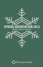 SPRING ORIENTATION 2012 - First Year Center