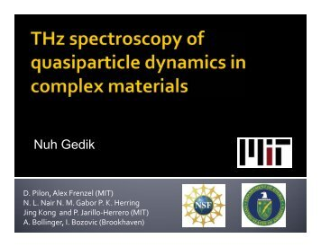 THz Spectroscopy of Quasiparticle Dynamics in Complex Materials