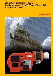 Weishaupt-Gasbrenner Typ G Zweistoffbrenner Gas/Öl Typen GL ...