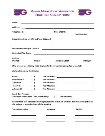 winter sport team sign up form please return to coach by