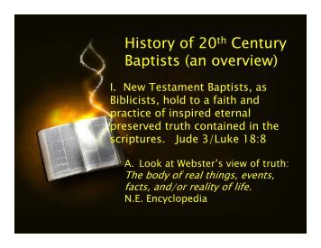 History of 20th Century Baptists (an overview) - Bbc-cromwell.org