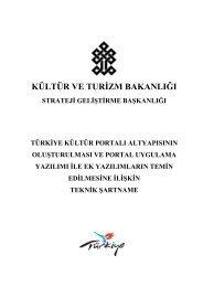 Teknik Şartname - Kültür ve Turizm Bakanlığı
