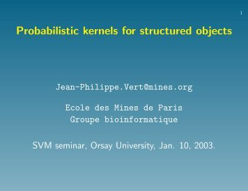 Probabilistic kernels for discrete objects