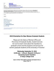 Orientation for New Women Graduate Students - School of Graduate ...
