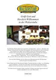 Die Speisekarte - Wirtshaus Walserstube