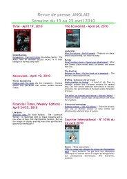 Revue de presse ANGLAIS Semaine du 19 au 25 avril 2010 - Scelva