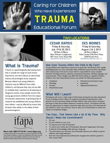 Trauma Educational Forum Flyer 2 - ifapa