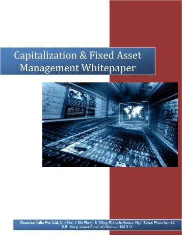 Capitalization & Fixed Asset Management - Osource India