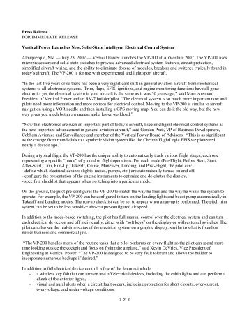 1 of 2 Press Release FOR IMMEDIATE RELEASE Vertical Power ...