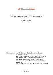 October 30, 2012 MANAGEMENT - Mahindra Satyam