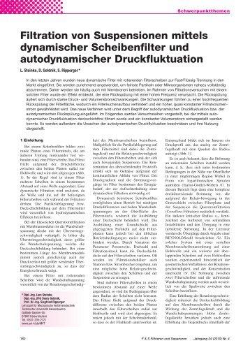 Filtration von Suspensionen mittels dynamischer Scheibenfilter und ...