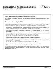 Employment Standards Fact Sheet -- Frequently Asked Questions