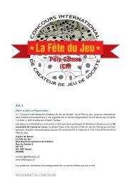 REGLEMENT DU CONCOURS - La Fête du Jeu