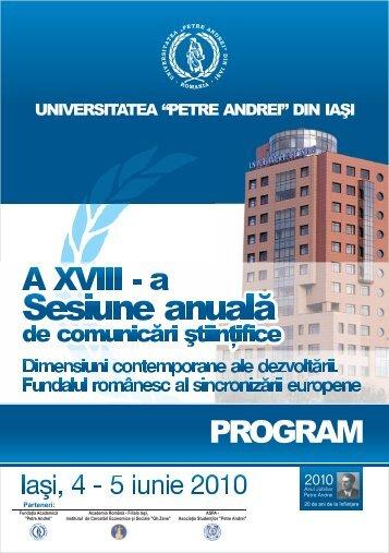 Sesiune anuală - Universitatea Petre Andrei