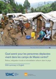 Quel avenir pour les personnes déplacées vivant dans les camps de ...