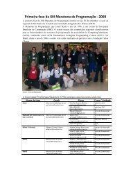 Primeira fase da XIII Maratona de Programação - Universidade ...