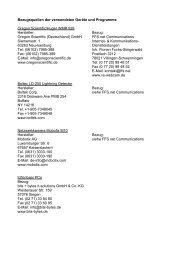 Bezugsquellen der verwendeten Geräte und Programme
