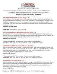 Lilja Spring '13 Enrichment Courses - Natick Public Schools