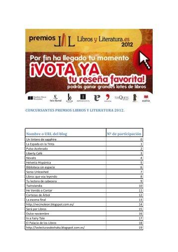 CONCURSANTES PREMIOS LIBROS Y LITERATURA 2012 ...