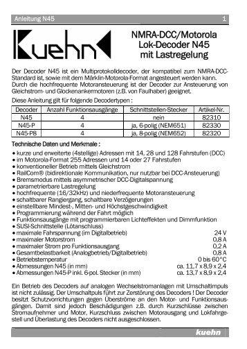 Anleitung N45 - Kuehn Digital