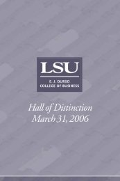 Hall of Distinction March31, 2006 - EJ Ourso College of Business
