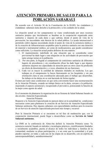 atención primaria de salud para la población saharaui - Infodoctor