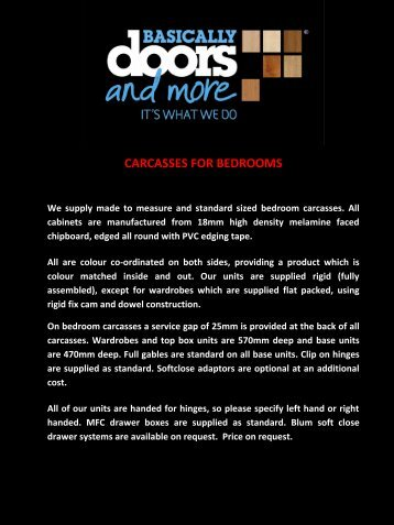 CARCASSES FOR BEDROOMS - Basically Doors  sc 1 st  Yumpu & Bella bedroom brochure - PDF download - Basically Doors