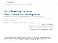 False Advertising Consumer Class Actions: Latest ... - Strafford