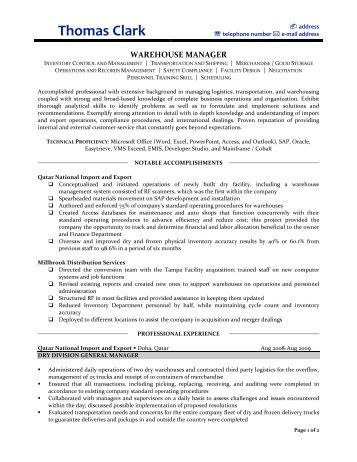 warehouse manager resume prime