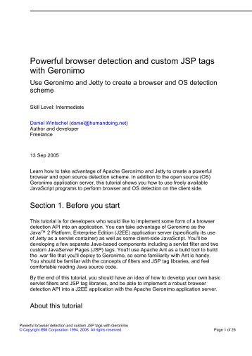 Powerful browser detection and custom JSP tags with Geronimo