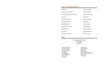 2010 – 2011 Board of Directors Staff - Jamaican Canadian Association