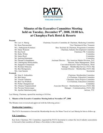 Minutes of the Executive Committee Meeting held on Tuesday ...