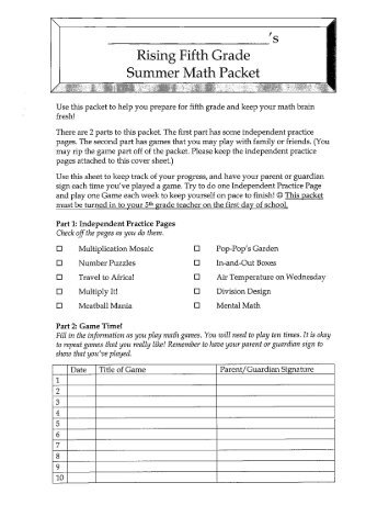 8th Grade Summer Math Packet Answers 2016 - 7th grade summer