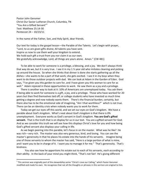 Sermon - Matthew 25 - Gensmer - Manuscript (PDF)