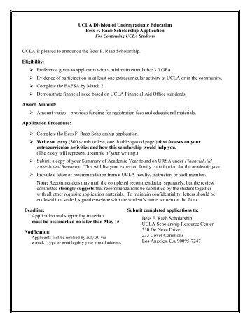Bess F. Raab Scholarship - Division of Undergraduate Education