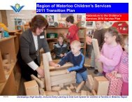 2011 Transition Plan - Social Services - Region of Waterloo
