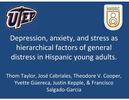 Depression, anxiety, and stress as hierarchical factors of general ...