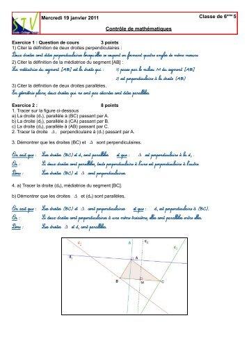 Mercredi 19 janvier 2011 Classe de 6eme 5 Contrôle de ...