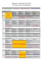 Horarios 3º Semestre 2011-2012 (2º Curso Grao en Veterinaria ...