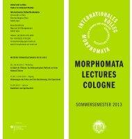 MORPHOMATA LECTURES COLOGNE - Universität zu Köln