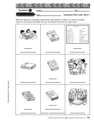 Write the Spanish vocabulary word below each picture. If there is a ...