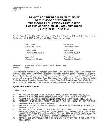 7-2-2012 CC Minutes - City of Moore